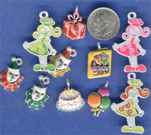 Birthday party Charms, cake, clowns, baloons