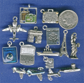 travel, suitcase, plane, globe charms
