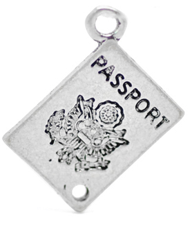 travel charms, passport charm