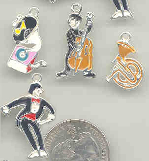jazz band charms, music charms