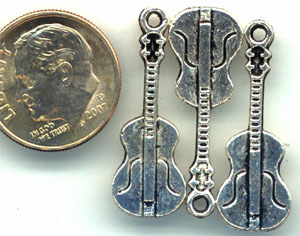 pewter guitar charm, music charm