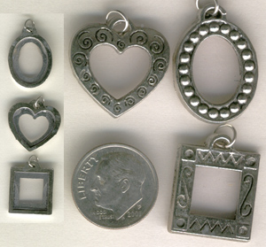 photo frame charms, heart charms