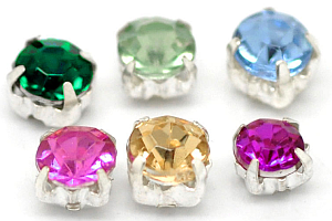 Prong-set sew-on rhinestone beads