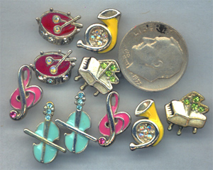 horn charms, piano charms, drum charms, music charms