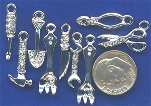 rhinestone hammer, screwdriver, scissors charms