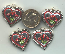 heart charm, rose heart charms