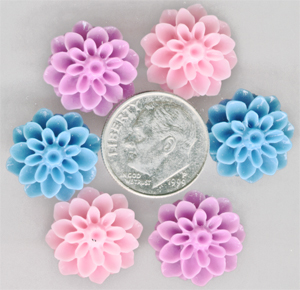 Resin Flowers, Pink, Purple and Blue Flower Embellishments