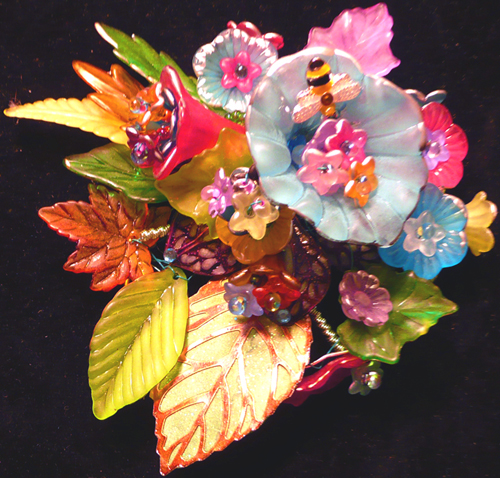 Lucite flowers, charms, filigree, mixed media, jewelry